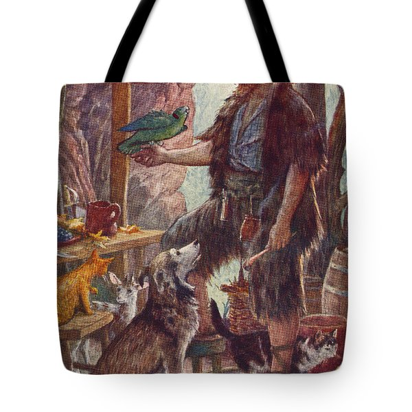 Robinson Crusoe And His Pets. From Tote Bag
