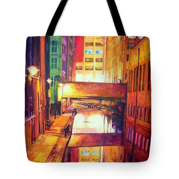 Rochdale Canal With Lock At Night Tote Bag