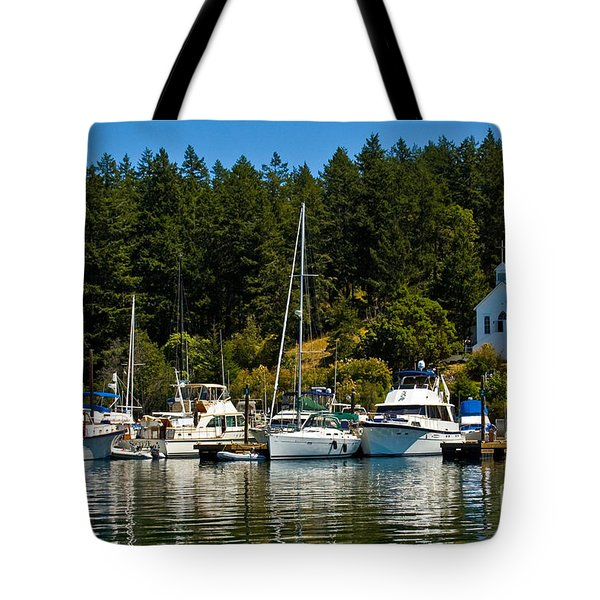 Roche Harbor Marina Tote Bag by Chuck Flewelling