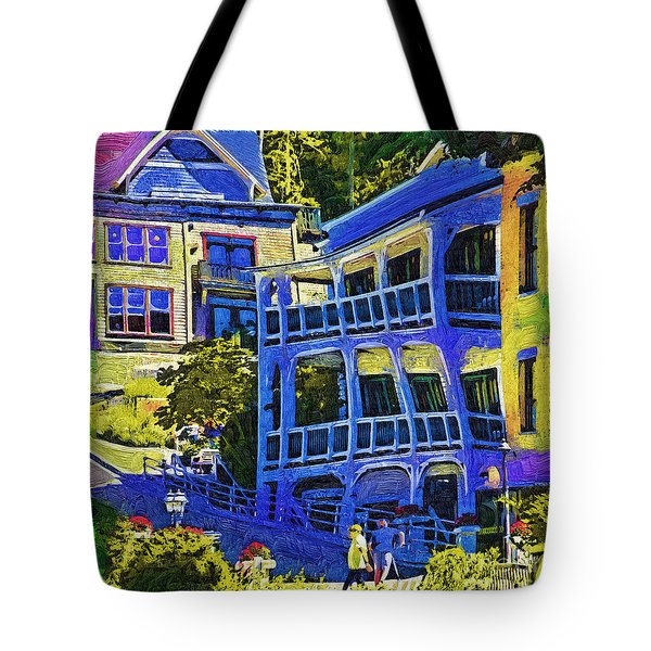 Tote Bag featuring the digital art Roche Harbor Street Scene by Kirt Tisdale