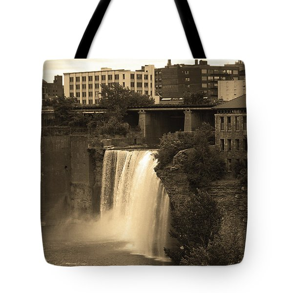Tote Bag featuring the photograph Rochester, New York - High Falls 2 Sepia by Frank Romeo
