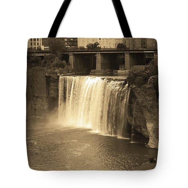 Tote Bag featuring the photograph Rochester, New York - High Falls Sepia by Frank Romeo