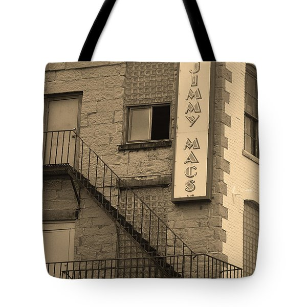 Tote Bag featuring the photograph Rochester, New York - Jimmy Mac's Bar 2 Sepia by Frank Romeo