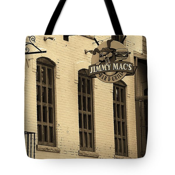 Tote Bag featuring the photograph Rochester, New York - Jimmy Mac's Bar 3 Sepia by Frank Romeo