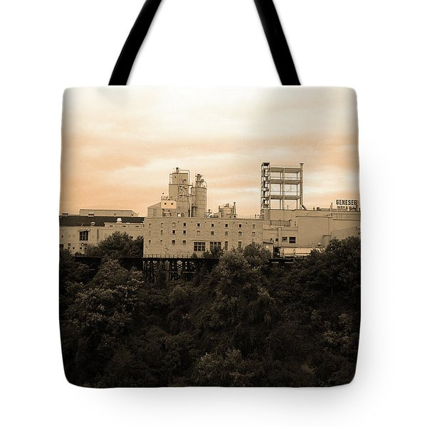 Tote Bag featuring the photograph Rochester, Ny - Factory On A Hill Sepia by Frank Romeo