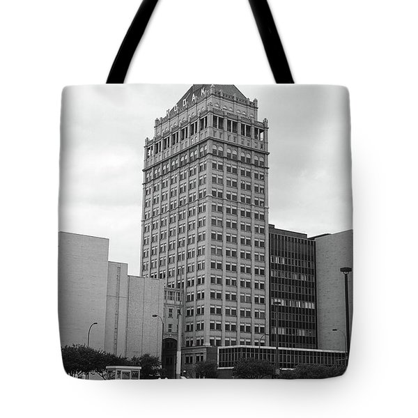 Tote Bag featuring the photograph Rochester, Ny - Kodak Building 2005 Bw by Frank Romeo