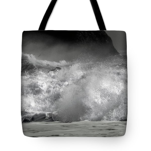 Rock And Roll Black Sand Beach Iceland Tote Bag