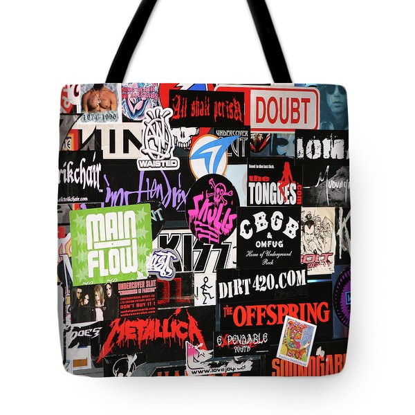 Rock And Roll Stickers Tote Bag