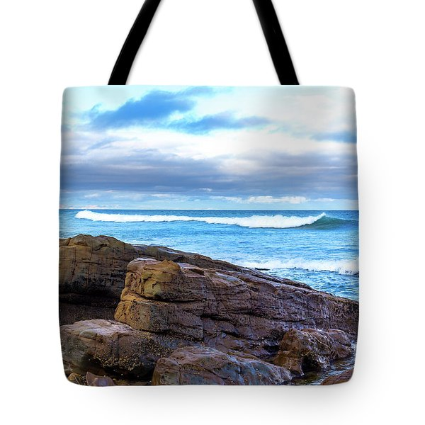 Tote Bag featuring the photograph Rock And Wave by Perry Webster