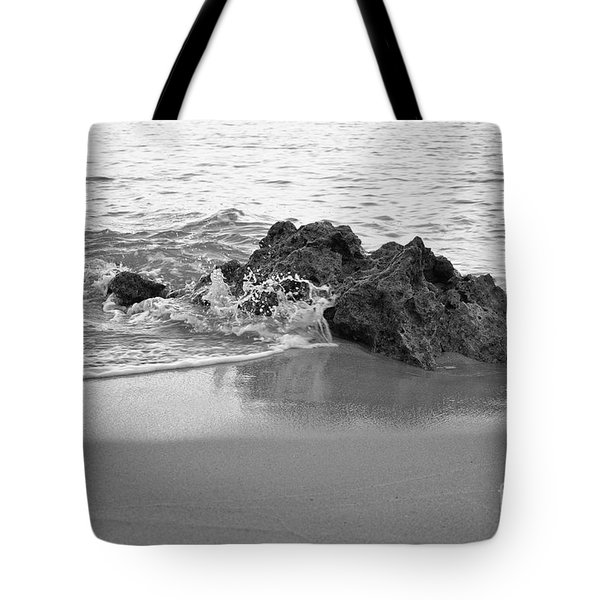 Rock And Waves In Albandeira Beach. Monochrome Tote Bag