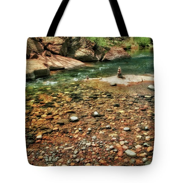 Rock Cairn At Buddha Beach - Sedona Tote Bag