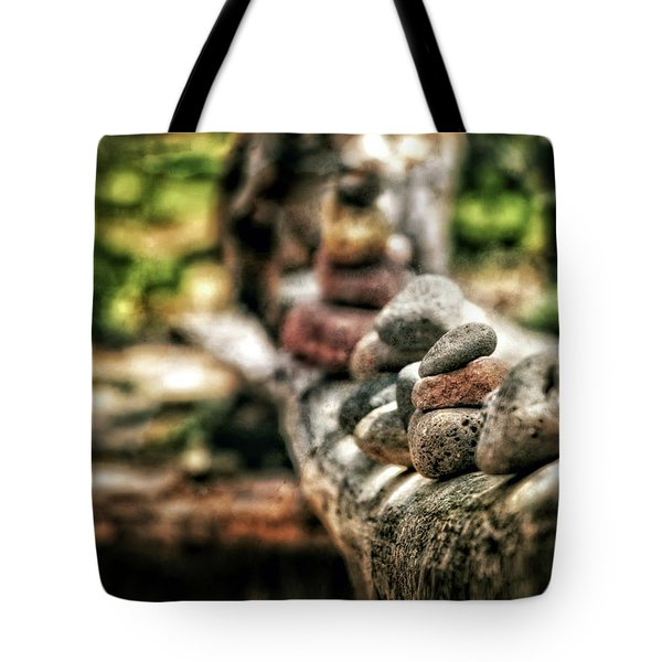 Rock Cairn At Buddha Beach Sitting On Tree Branch - Sedona Tote Bag