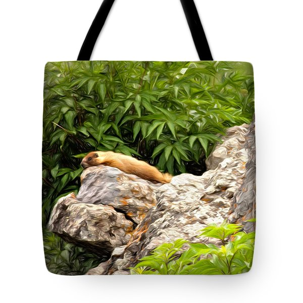 Tote Bag featuring the photograph Rock Chuck by Lana Trussell