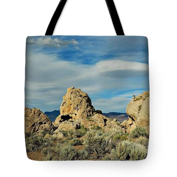 Tote Bag featuring the photograph Rock Formations At Pyramid Lake by Benanne Stiens