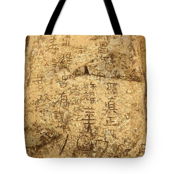 Rock Graffiti On Mountain Peak In Taiwan Tote Bag by Yali Shi