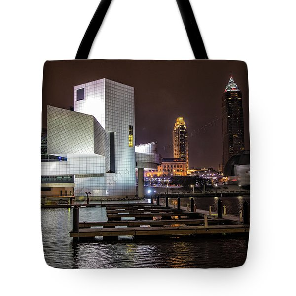 Rock Hall Of Fame And Cleveland Skyline Tote Bag
