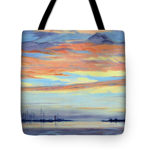 Rock Hall Sunset Tote Bag by Cindy Roesinger