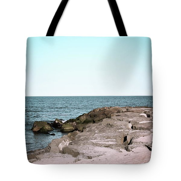 Tote Bag featuring the photograph Rock Jetty by Colleen Kammerer