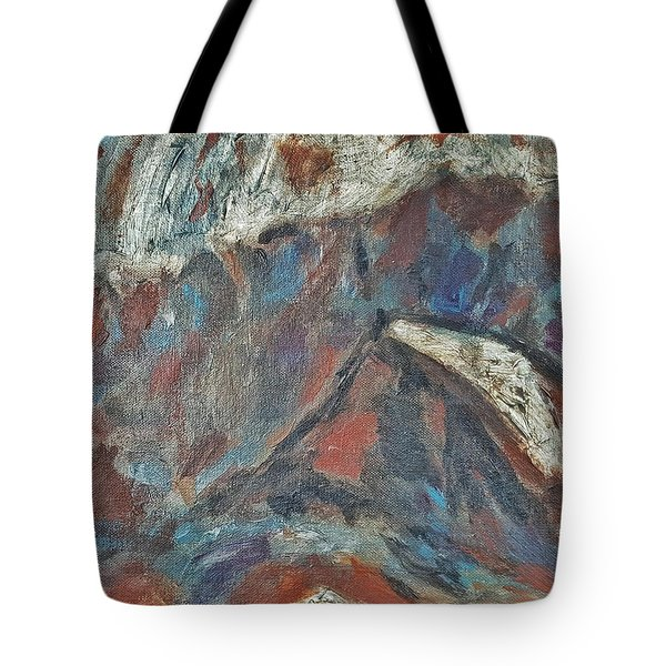 Rock Landscape Abstract  Fall Waves And Forests Swirling In The Background In Red Blue Orang Tote Bag by MendyZ