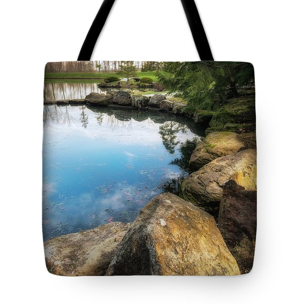 Rock Lined Pond Tote Bag