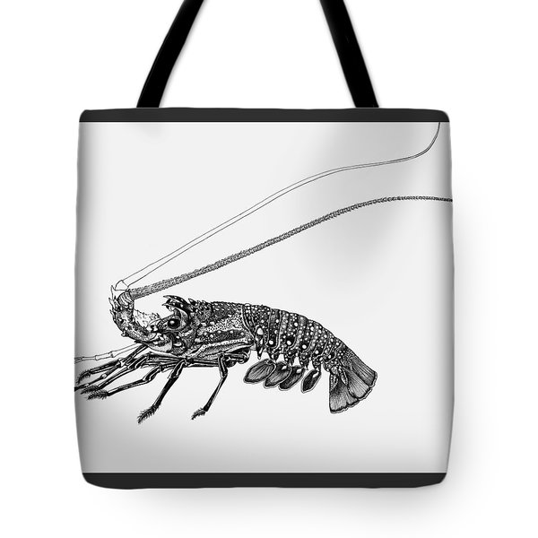 Tote Bag featuring the drawing Rock Lobster by Judith Kunzle