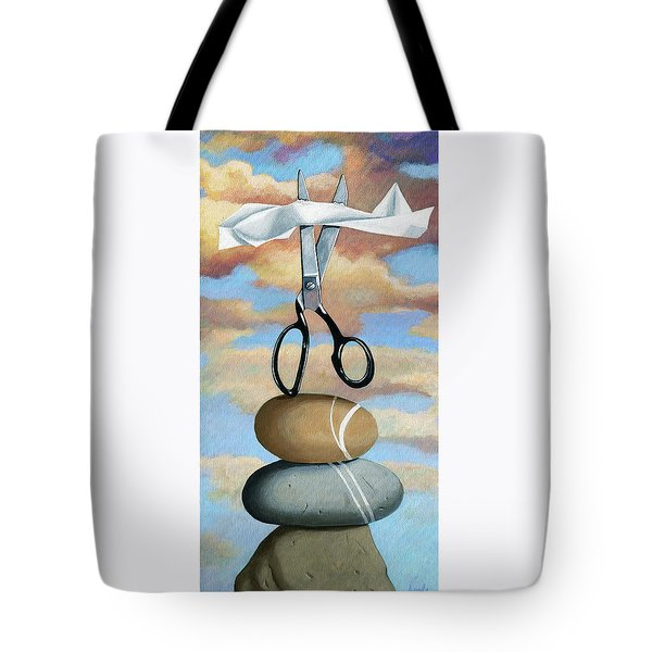 Tote Bag featuring the painting Rock, Paper, Scissors by Linda Apple