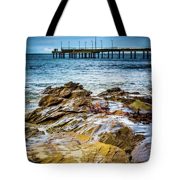 Tote Bag featuring the photograph Rock Pier by Perry Webster