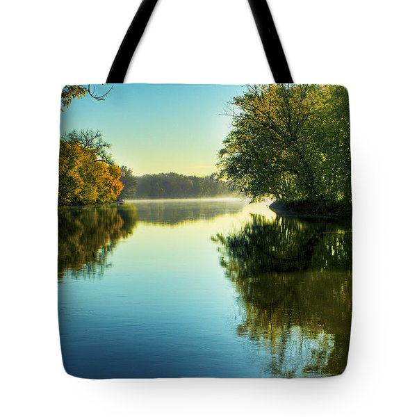 Rock River Autumn Morning Tote Bag