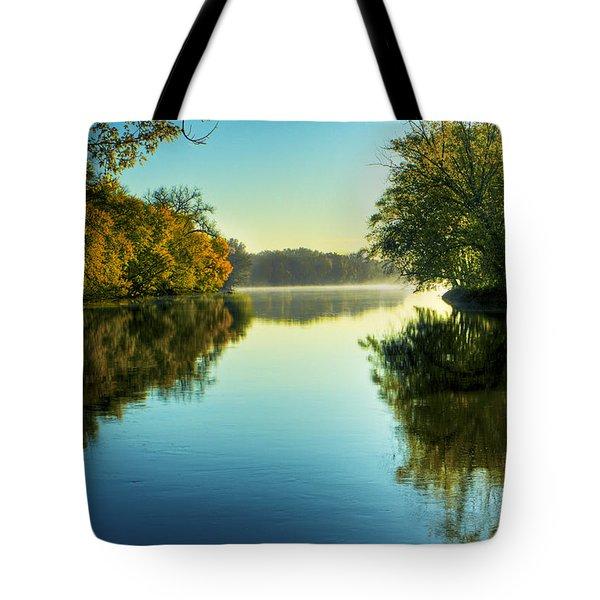 Rock River Autumn Morning Tote Bag