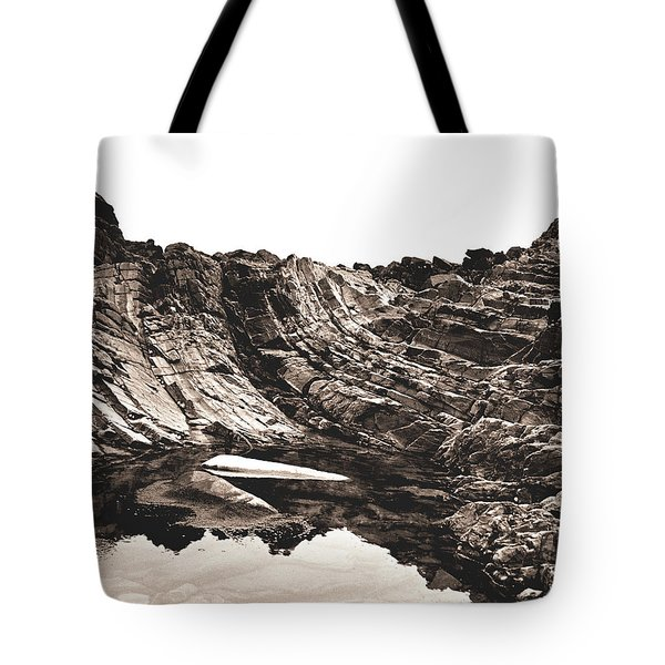 Tote Bag featuring the photograph Rock - Sepia Detail by Rebecca Harman