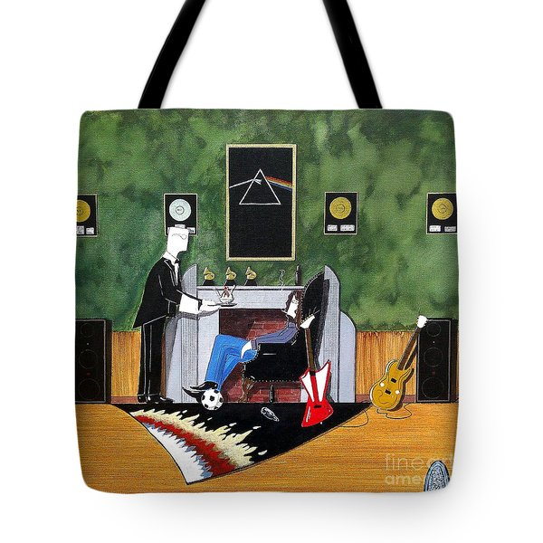 Rock Star Sitting In Chair Served A Sundae By Butler Tote Bag by John Lyes