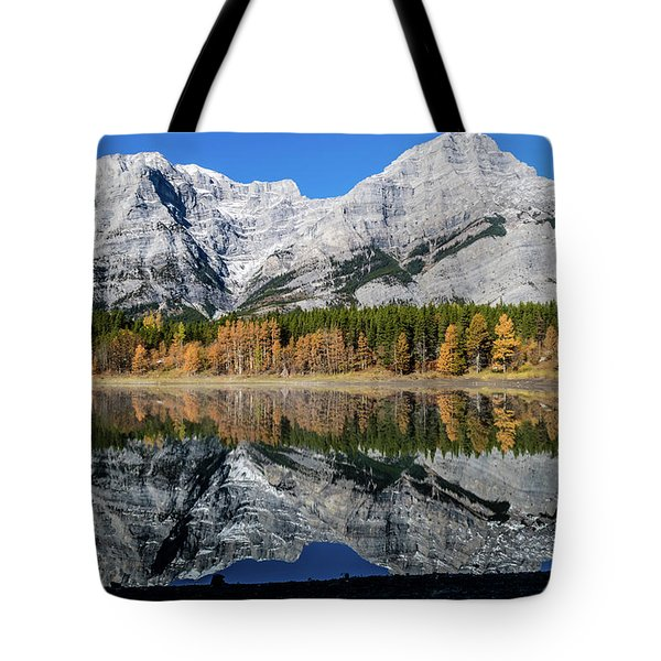 Rockies From Wedge Pond Under Late Fall Colours, Spray Valley Pr Tote Bag