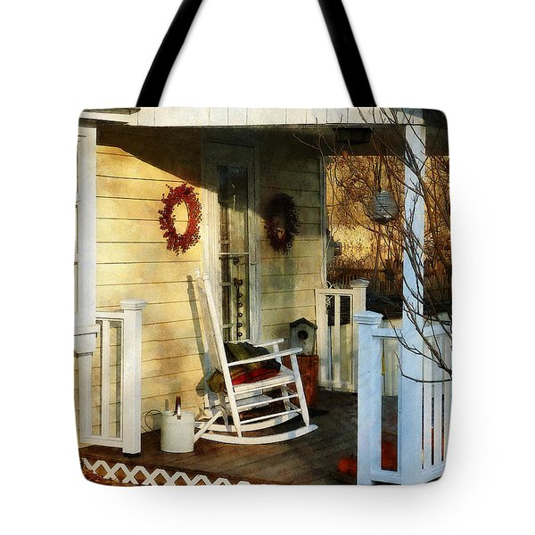 Rocking Chair On Side Porch Tote Bag by Susan Savad