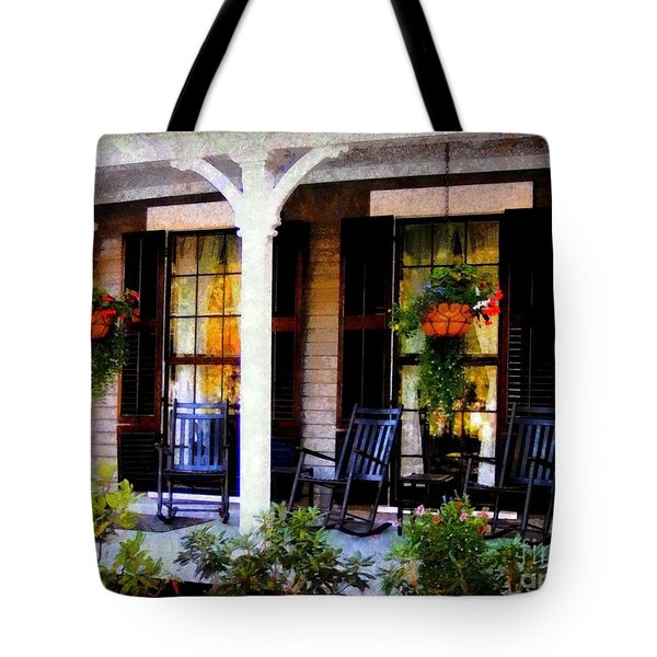 Rocking Chairs On A Country Porch  Tote Bag