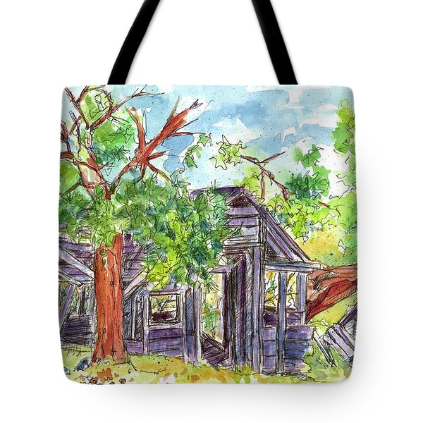 Tote Bag featuring the painting Rockland Cabin by Cathie Richardson