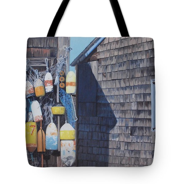 Rockport Fishing Shack With Lobster-buoys And Nets Tote Bag