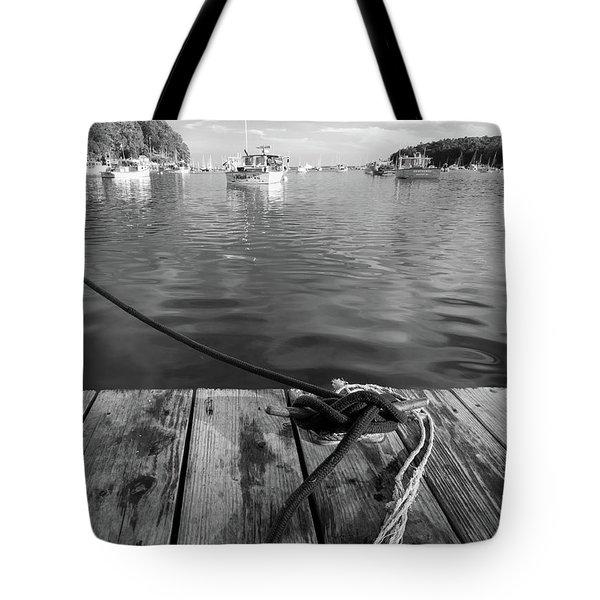 Rockport Harbor, Maine #80458-bw Tote Bag