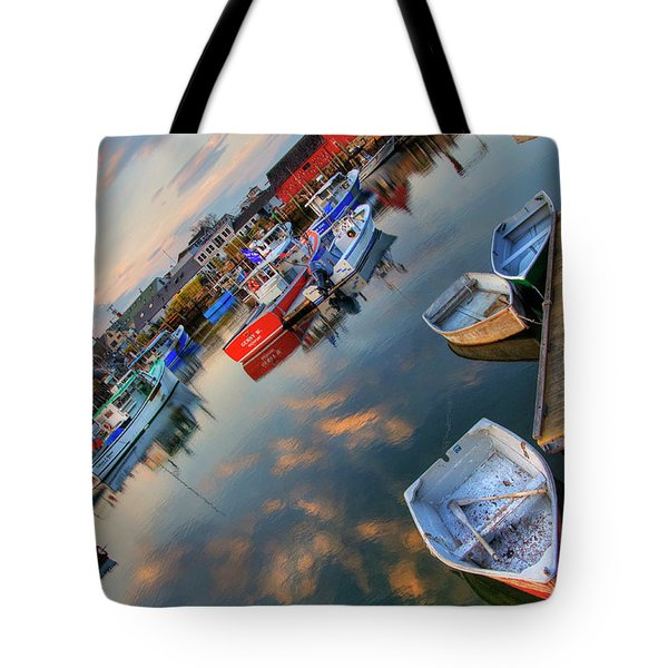 Tote Bag featuring the photograph Rockport Harbor Motif #1  by Joann Vitali