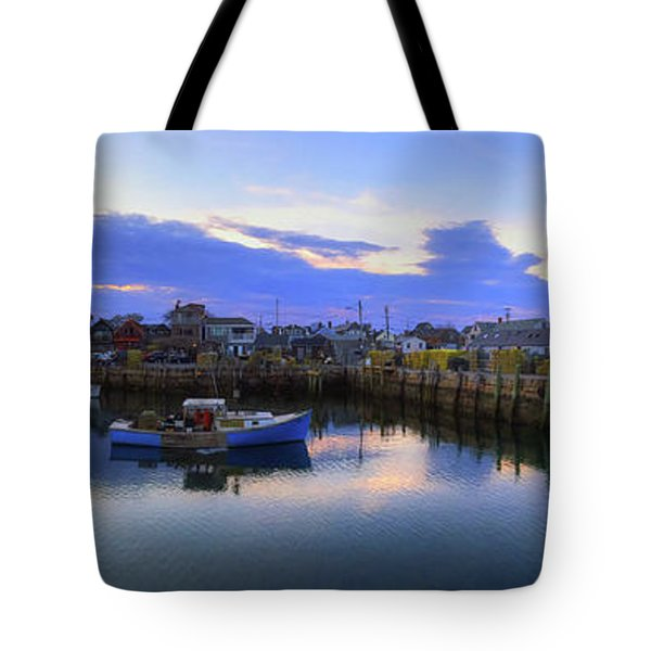 Tote Bag featuring the photograph Rockport Harbor Sunset Panoramic With Motif No1 by Joann Vitali