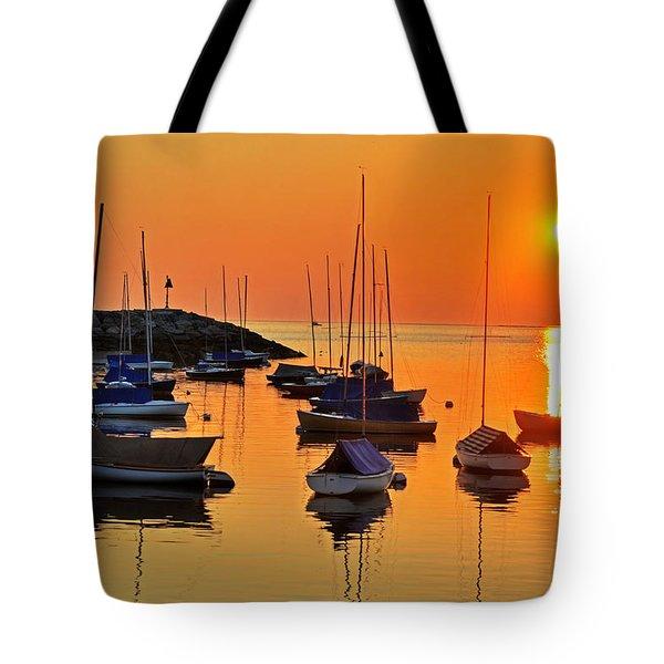 Rockport Ma Boats Rockport Harbor Tote Bag