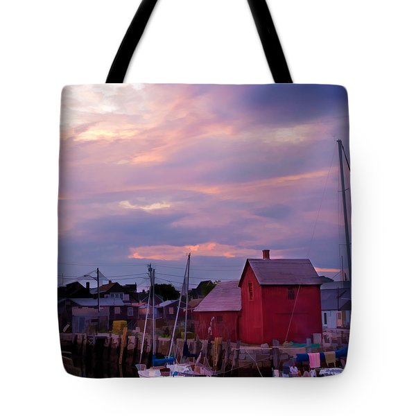 Tote Bag featuring the photograph Rockport Sunset Over Motif #1 by Jeff Folger