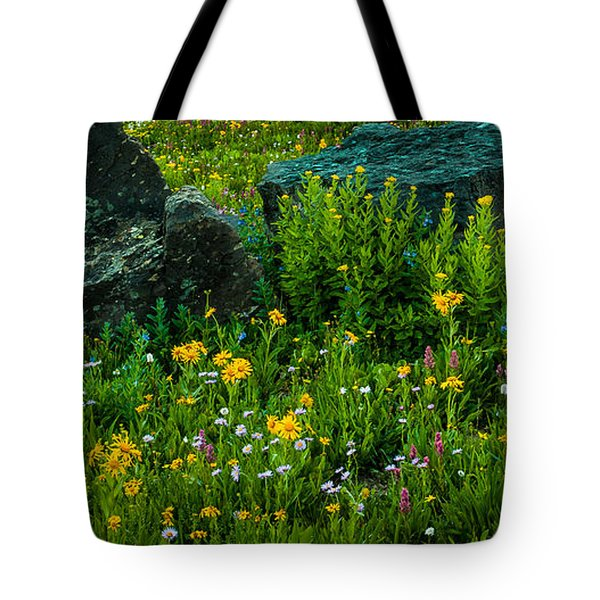 Tote Bag featuring the photograph Rocks Among The Flowers by Jay Stockhaus