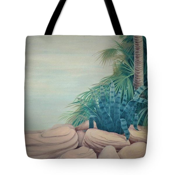 Rocks And Palm Tree Tote Bag