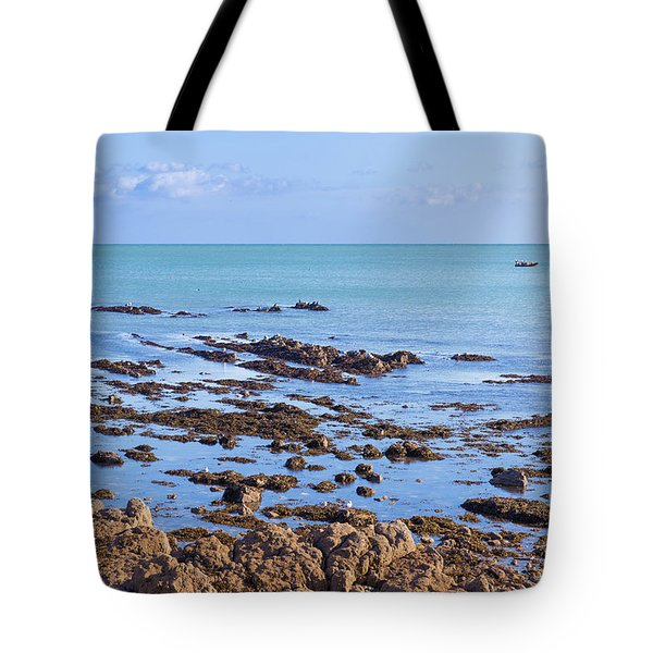 Tote Bag featuring the photograph Rocks And Seaweed And Seagulls In The Irish Sea At Howth by Semmick Photo