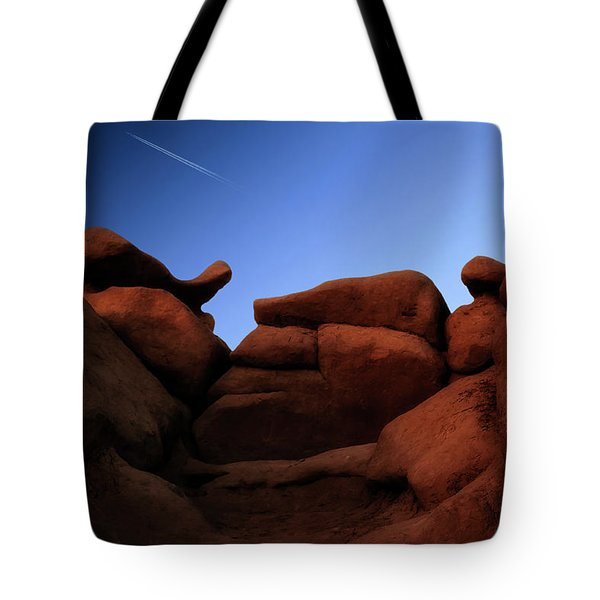 Rocks And Sky At Goblin Valley  Utah Tote Bag by Gary Warnimont