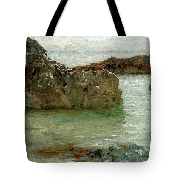 Rocks At Newport Tote Bag