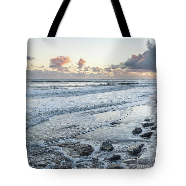 Rocks On The Beach During Sunset Tote Bag