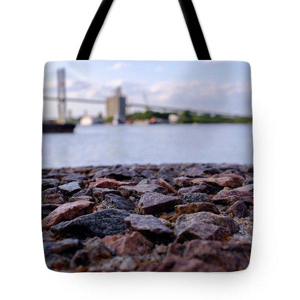 Rocks River And A Bridge In Savannah Georgia Tote Bag