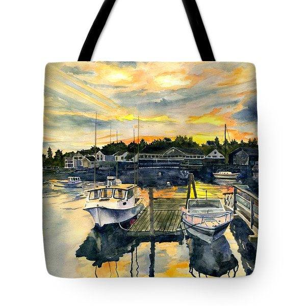 Rocktide Sunset Tote Bag by Melly Terpening
