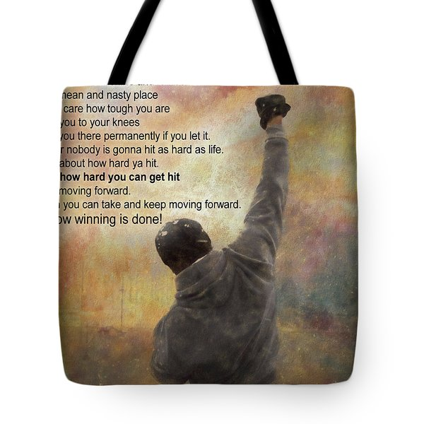 Rocky Balboa Inspirational Quote Tote Bag